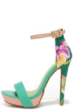 Miami Beach Sea Green Print Platform Sandals