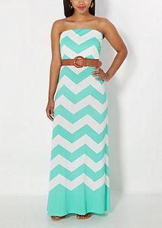 Mint Chevron Belted Tube Maxi Dress
