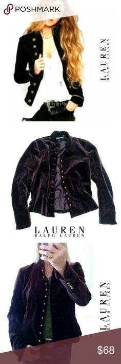 """L RALPH LAUREN MERLOT  VELVET MILITARY STYLE JACKT LAUREN RALPH LAUREN MERLOT COLOR MILITARY STYLE JACKET Pre-Loved  /Image for Similarity  Only SZ 8 This is A Great Jacket to Dress Up with or Pair with Jeans.  Soft 100% Cotton Velvet Like  Very Tailored. Antique Gold Round Buttons Accent Sleeves & Front. Military Cut Button Holes. Neru  Neck Closure Fitted Sleeves & Waist Approx Meas;    Arm Pit to Armpit  18""""    Under Arm Length 18""""    Back Neck to Hem Length 23"""" Pls See All Pics. Ask ? If…"""