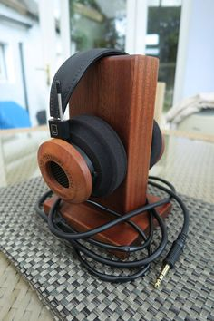 Custom headphone stand (wood finish)
