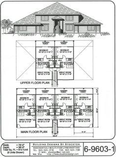 12 plex 43x88 apartment house plan ideas pinterest for 8 plex apartment plans