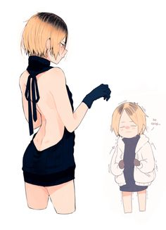 "kenma in the ""ero sweater"" Haikyuu Funny, Haikyuu Manga, Haikyuu Fanart, Kenma Kozume, Kuroken, Kagehina, Cute Anime Boy, Anime Guys, Guys In Skirts"