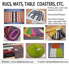 Rugs mats coasters table covers napkin door mats floor carpets bath mats