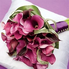purple calla lily wedding flower bouquet, bridal bouquet, wedding flowers, add pic source on comment and we will update it. www.myfloweraffair.com can create this beautiful wedding flower look.