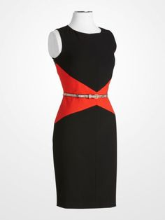 Calvin Klein Black and Red Belted Colorblock Sheath Dress