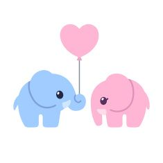 Cute cartoon elephant couple vector art illustration