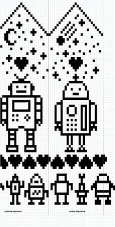 Осинка This is a pattern on Ravelry called Love Bytes Just had a fun idea about and patterns Wedding Cross Stitch Patterns, Cross Stitch Borders, Knitted Mittens Pattern, Pixel Crochet, Crochet Cross, Fair Isle Knitting Patterns, Knitting Charts, Fair Isle Chart, Little Girls
