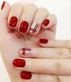 nails Elegant Wine red double line finished false nails,Silver flash powder short paragraph full Nail tips Patch,DIYart tool Red Nail Designs, Short Nail Designs, Beautiful Nail Designs, Xmas Nails, Holiday Nails, Christmas Nails, Glamour Nails, Nail Decorations, Winter Nails