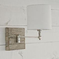 Reclaimed Wood Swing Arm Wall Lamp