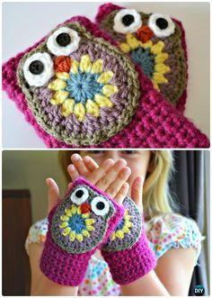 Crochet Fingerless Owl Mittens Free Pattern- #Crochet Owl Ideas Free Patterns