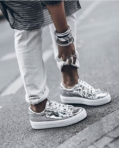 White Denim & Silver