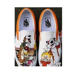Hand Painted Calvin and Hobbes Shoes Custom Converse Shoes, Calvin And Hobbes, Painted Shoes, Skate Shoes, Kids Wear, Cool Kids, Shoe Painting, Take That, Vans