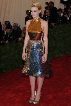 Working with Prada, the host of Met Gala 2012.  The amazing talents at Christy Rilling Studio including myself, tailored all of these amazing looks in one week.  Carey Mulligan looking like a perfect ball of Disco.