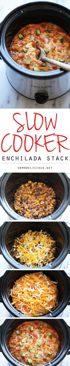 Slow Cooker Enchilada Stack - Simply turn on your crockpot and forget all about it until you have the cheesiest and creamiest enchiladas ever! It's so easy!