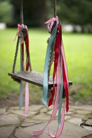 decorate your backyard swing for a photo shoot or for the seasons...red, white and blue ribbons for patriotic holidays, pastel ribbons for easter or orange, yellow and red ribbons for fall