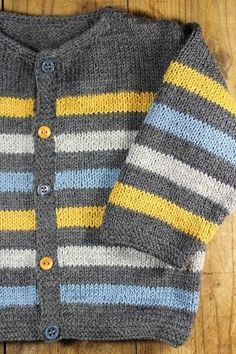 Diy Crafts - Ravelry: Project Gallery for garter yoke baby cardi pattern by Jennifer Hoel Baby Cardigan Knitting Pattern Free, Baby Boy Knitting Patterns, Knitted Baby Cardigan, Knitting For Kids, Knitting Blogs, Baby Sweaters, Pulls, Knits, Diy Crafts