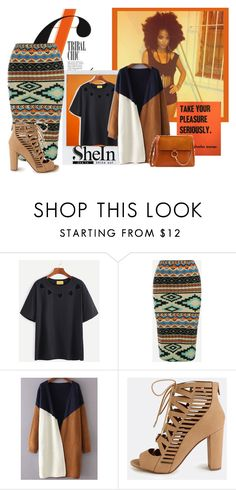 """Shein: Black T-shirt Tribal Chic"" by imanimari on Polyvore"