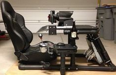 Click this image to show the full-size version. Flight Simulator Cockpit, Racing Simulator, Pc Gaming Setup, Gaming Chair, Game Room Design, Racing Wheel, Formula One, Home Projects, Woodworking Projects