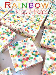 Rainbow Krispie Treats & 1st Blogiversary Celebration! - Together as Family Yummy Treats, Delicious Desserts, Sweet Treats, Rice Krispie Treats, Rice Krispies, Kid Desserts, Dessert Recipes, Rainbow Treats, Creative Kids Snacks