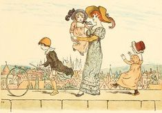 Kate Greenaway 1910 from The Marigold Garden - On the Wall Top