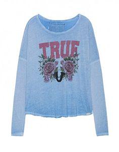TRUE RELIGION Long True Roses Heritage Blue
