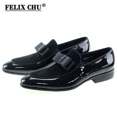 6859ec3c215 ... leather Suppliers  Handmade Genuine Patent Leather And Nubuck Leather  Patchwork With Bow Tie Men Wedding Black Dress Shoes Men s Banquet Loafers