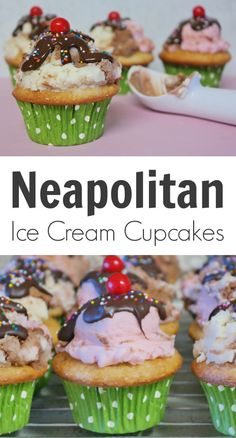 Not only do these Neapolitan Ice Cream Cupcakes taste exactly like a delicious Neapolitan ice cream treat, but they smell just as amazing and are sure to bring brilliant smiles to everyone who sees them. Best Dessert Recipes, Cupcake Recipes, Easy Desserts, Cookie Recipes, Delicious Desserts, Cupcake Cakes, Yummy Food, Yummy Recipes, Frugal Recipes