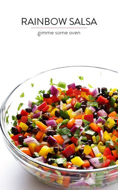 Rainbow Salsa Cowboy Caviar, whatever you call it -- it's easy to make, and so fresh and tasty! Serve with baked sprouted-grain pita triangles, or just gobble it with a spoon. Healthy Snacks, Healthy Eating, Healthy Recipes, Appetizer Recipes, Appetizers, Clean Eating, Rainbow Food, Rainbow Salad, Mexican Food Recipes