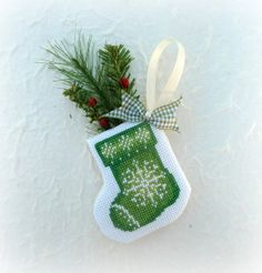 Cross Stitched Christmas Stocking Snowflake by SnowBerryNeedleArts, $27.50