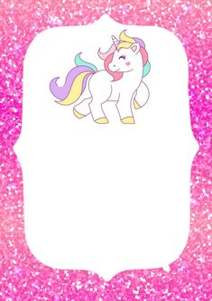 Invitacion de unicornio para imprimir Unicorn Birthday Invitations, Unicorn Birthday Parties, Birthday Party Decorations, Unicorn Art, Cute Unicorn, Baby Birthday Card, Rainbow Unicorn Party, Baby Girl Scrapbook, School Labels