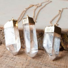 Crystal Necklace Quartz Necklace Stone Necklace by mokamoon