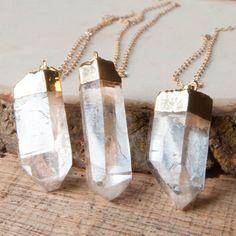 Crystal Necklace Quartz Necklace Stone Necklace by mokamoon