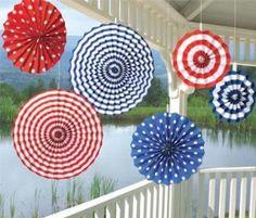 Paper Fan Decorations - R/W/B: Amazon.co.uk: Toys & Games