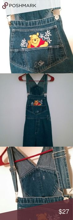 "Winnie the Pooh Short Overalls New without tags~ Size 18Women ~ 43.5"" inches around the waist. Can be worn in the winter with warm tights and a sweater under it. Cuteness personified. Yay! Disney Shorts Jean Shorts"