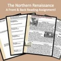 """Free download: """"Front & Back"""" Northern Renaissance Reading & Review Assignment by Michele Luck #worldhistoryteaching #world #history #teaching"""