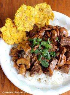 Carne con Champiñones (Beef with Mushrooms)  mycolombianrecipes.com