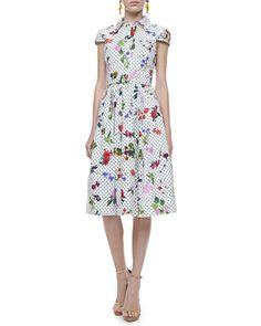 Belted Polka-Dot & Floral Dress, White/Multi by Oscar de la Renta at Bergdorf Goodman.