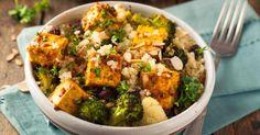 Recette de Salade de quinoa santé au tofu, amandes et brocolis. Facile et rapide à réaliser, goûteuse et diététique.