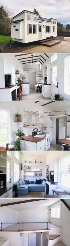 The Coastal Craftsman is a tiny house created by Handcrafted Movement., The Coastal Craftsman is a tiny house created by Handcrafted Movement. The Washington-based builder used wide plank . Best Tiny House, Tiny House Plans, Tiny House On Wheels, Tiny House Movement, Small Beach Houses, Interior Design Minimalist, Casas Containers, Tiny House Living, Living Room