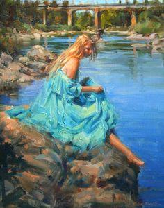 "artbeautypaintings: "" The heat of summer - Robert Krogle "" She's A Lady, Sea Art, Figurative Art, Impressionist, Summer Beach, Gallery, Inspiration, Beautiful, Beauty"