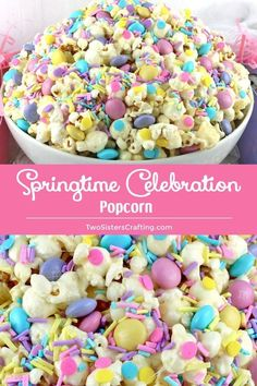 Frühlings-Feier-Popcorn Frühlingsfest-Popcorn ist ein farbenfrohes und lecker… Spring Celebration Popcorn Spring Festival popcorn is a colorful and delicious popcorn dessert – the perfect combination of sweet, salty and crispy in a single bowl. Easter Deserts, Easter Snacks, Easter Treats, Easter Recipes, Easter Food, Easter Eggs, Easter Dinner, Easter Brunch, Easter Party