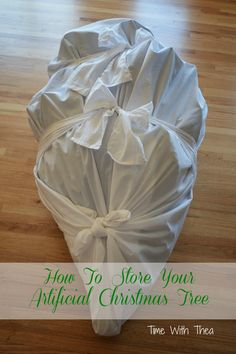 DIY - Artificial Christmas Tree Storage bag made from an inexpensive bed sheet.