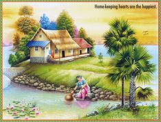 Lakeside Cottage (Reprint on Paper - Unframed) Scenery Paintings, Indian Art Paintings, Nature Paintings, Village Scene Drawing, Art Village, Fantasy Landscape, Landscape Art, Landscape Paintings, Beautiful Nature Wallpaper