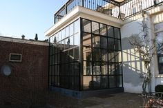 Extension Veranda, House Extension Design, House Design, Rear Extension, Garden Room Extensions, House Extensions, Glass Conservatory, Black Window Frames, Steel Stairs