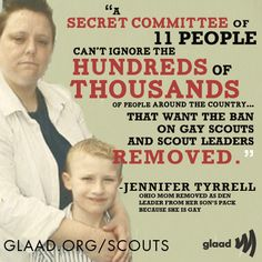 Ohio mom Jennifer Tyrrell delivered more than 300,000 petition signatures and met with Boy Scout officials at the Boy Scouts' headquarters on Wednesday, calling for the Boy Scouts of America to end its ban on gay scouts and LGBT leaders.     Click LIKE & REBLOG if you agree with her statement!    http://www.glaad.org/blog/photos-jennifer-tyrrell-delivers-300k-signatures-boy-scouts-calling-end-anti-gay-ban