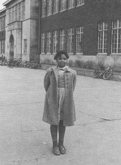 Brown vs Board of Education -- Linda Brown at Monroe Elementary in Topeka, Kansas. 1951 case brought by her parents and other plaintiffs, formed the basis for the landmark Supreme Court decision of May Us History, African American History, Women In History, History Facts, African Diaspora, My Black Is Beautiful, It Goes On, Black History Month, Black People