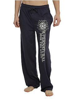 <p>Comfy blue heather guys pajama pants from <i>Supernatural</i> with logo design on the left leg and an elastic drawstring waist with single button fly.</p>  <ul> <li>60% cotton; 40% polyester</li> <li>Wash cold; dry low</li> <li>Imported</li> <li>Listed in men's sizes</li> </ul>