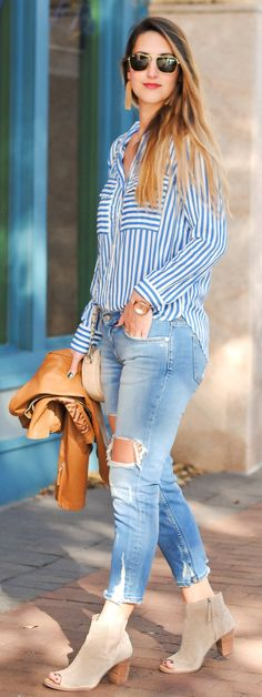 #spring #outfits /  Blue & White Shirt / Destroyed Bleached Denim / Grey Suede Open Toe Booties