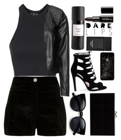 """Black Spring Rocker"" by egordon2 ❤ liked on Polyvore featuring River Island, Topshop, Zizzi, Charlotte Olympia, Tom Ford, Eight & Bob, Gorgeous Cosmetics, black, blackoutfit and blackset"