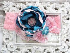 Turquoise and Pink Satin Flower headbandBaby от MimiLittleBowtique